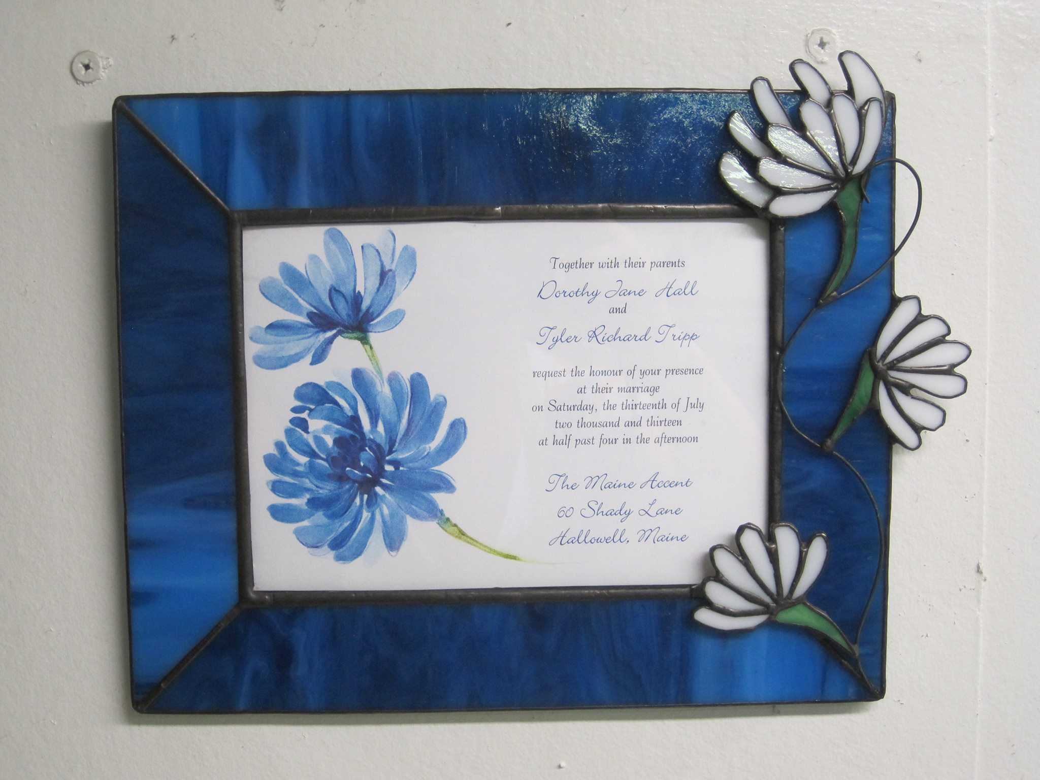 wedding invitation frame maine art glass