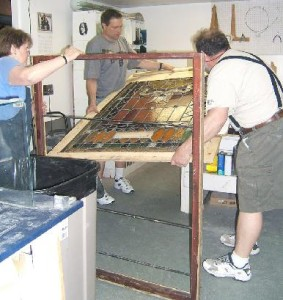 Artists Repairing Antique Glass